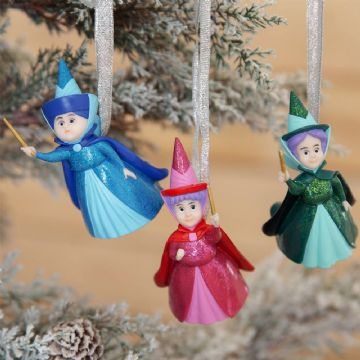 DISNEY SET OF 3 TREE DECORATIONS MERRYWEATHER, FLORA & FAUNA PRE ORDER